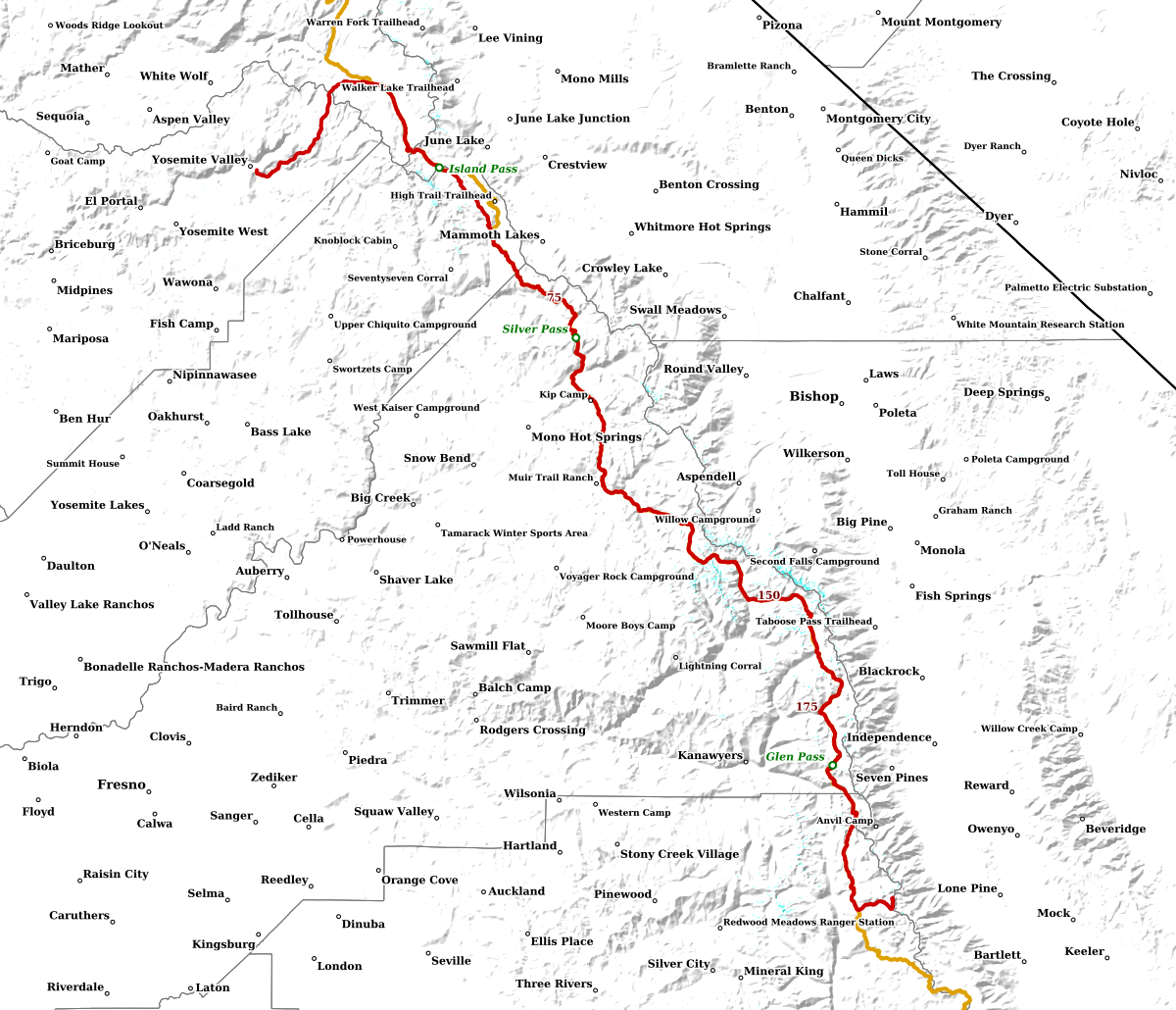 John Muir Trail Sentinel-2 20m (~65 feet) snow cover, Crabtree Mdw to Tuolumne Mdw