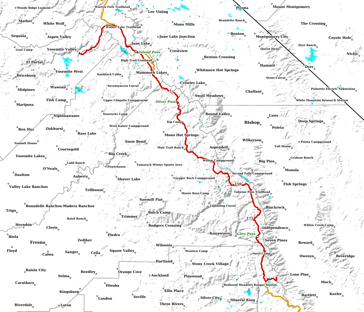 John Muir Trail Snow SNODAS/MODIS, Crabtree Mdw to Tuolumne Mdw