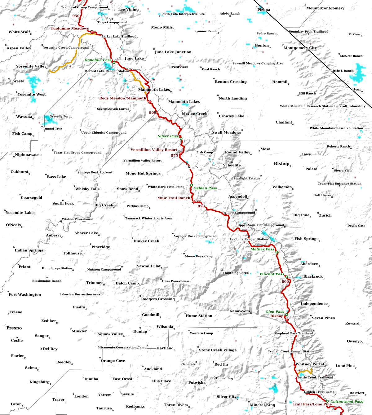 Pacific Crest Trail Snow SNODAS/MODIS, Crabtree Mdw to Tuolumne Mdw